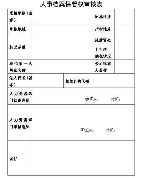 人事档案保管权审核表